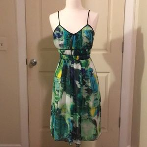 Midi dress with watercolor print!